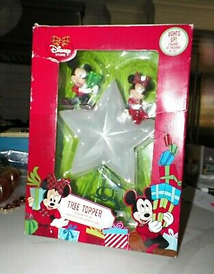 DISNEY MICKEY MOUSE MINNIE MOUSE CHRISTMAS TREE TOPPER IN ORIGINAL BOX