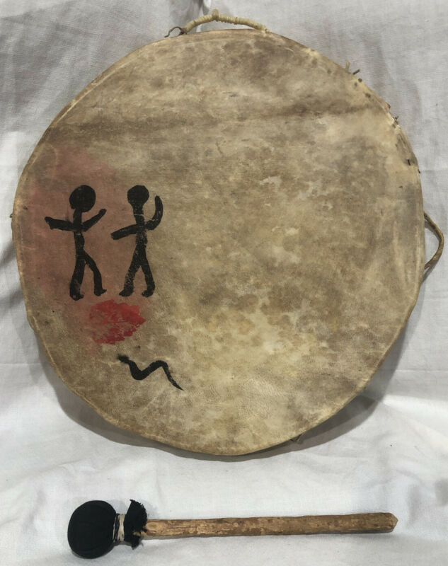 """VTG NATIVE AMERICAN RAWHIDE DRUM DOUBLE SIDED! GREAT SOUND 17"""" X 2.5"""" SHAMAN"""