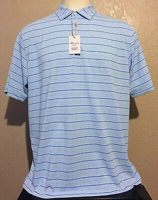 NEW Peter Millar Summer Comfort Mens XL Oasis Blue Striped Mesh Golf Polo Shirt  Oasis Blue Stripe