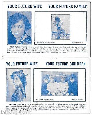 2 Your Future Wife Children 1935 Esco Humor Exhibit Supply Co gag Arcade Cards a