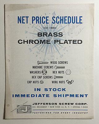 Vintage Jefferson Screw Corp. Price Sheet, Brass Chrome Plated Screws &c, 1950's