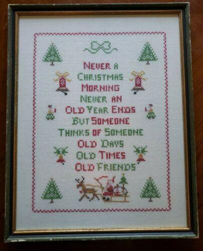 Xmas Saying COMPLETED CROSS STITCH FRAMED memories Santa sleigh 15x19 VTG