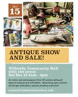 Antique Show and Sale! Dec 15 9-4p willowby hall