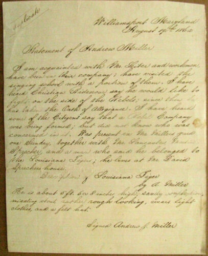 CIVIL WAR LETTER RE LOUISIANA TIGER WILLIAMSPORT MARYLAND