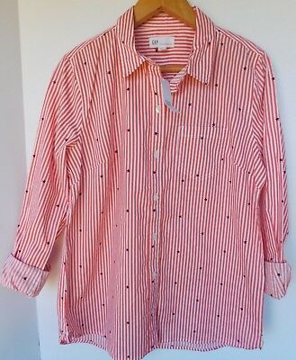NWT Gap Women's Long Sleeve Pink Striped Shirt Top Stars XS S M L XL 2XL New