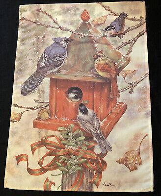 """Small Garden Flag 12.5""""x18"""" Winter Birdhouse w/ Blue Jay Cardinal Wren Chickadee"""