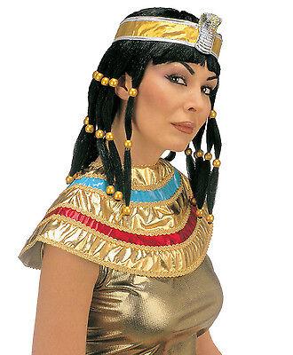 erücke + Kopfband Kragen, Cleopatra Ägypterin Langhaar Zöpfe (Cleopatra Perücke)