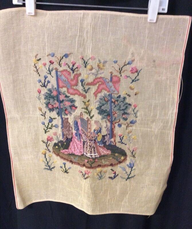 Vintage Petit Point Needlepoint Canvas Tapestry Renaissance (a)