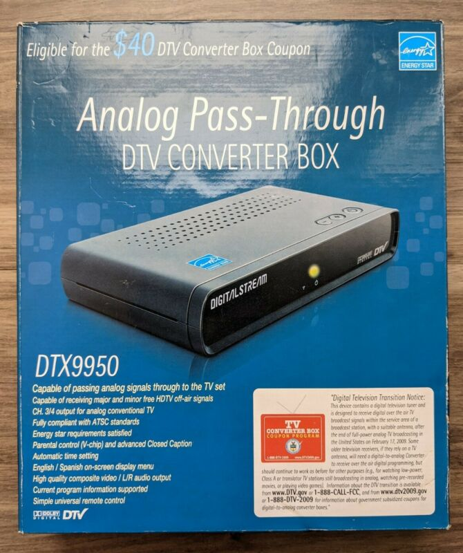 NEW Digital Stream DTX9950 Anolog Pass-Through DTV Converter Box