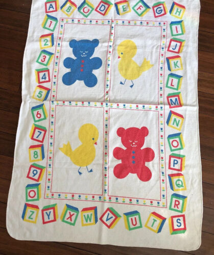 Riegel Baby Blanket Vintage White Alphabet Numbers Primary All Cotton - $9.99