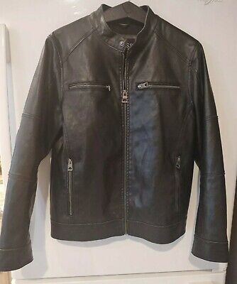 Guess mens faux leather jacket small new condition