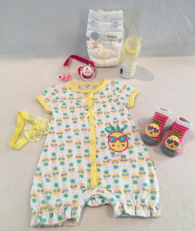 Reborn Baby Doll Pineapple Outfit W/pacifier, Bottle & Accs