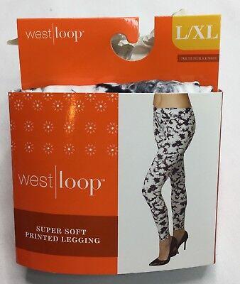 West Loop Black White Tie Dye Leggings Ladies Leggings L/XL New