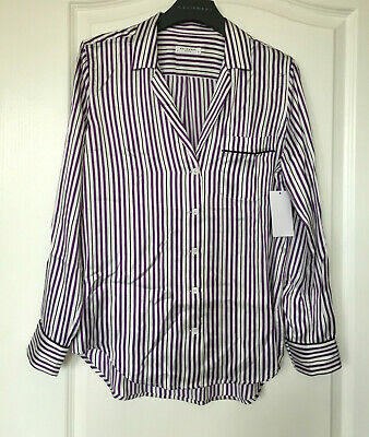 NWT $268 EQUIPMENT 'Keira' Striped Print Silk Blouse, White / Blacklight, Small
