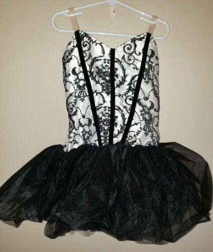 girls CURTAIN CALL black white TUTU DANCE LEOTARD sparkles! size 12 super cond!