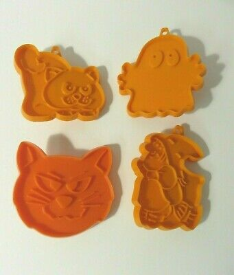 4 Vintage Hallmark Halloween Cookie Cutters Witch Ghost Cat Lot