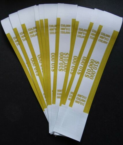 10 - Mustard $10,000 Cash Money Self-Sealing Straps Currency Bands