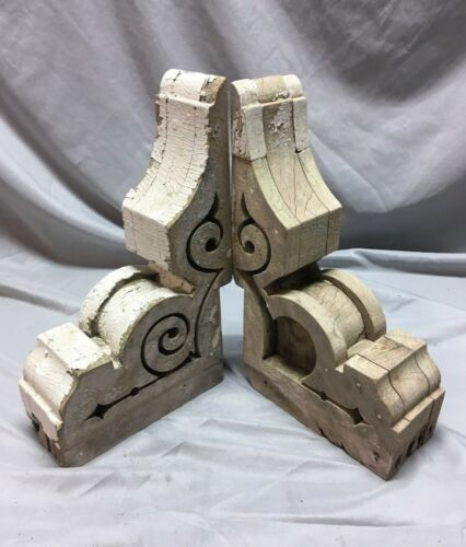Pr Antique Victorian Gingerbread Roof Corbels Shelf Brackets Vtg Chic 42-18C
