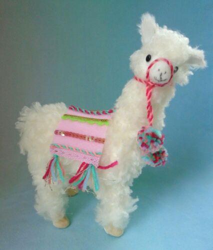 "Pier 1 Pink & White Boho Llama Sequins Faux Fuzzy Soft Fur & Foam 9 3/4"""