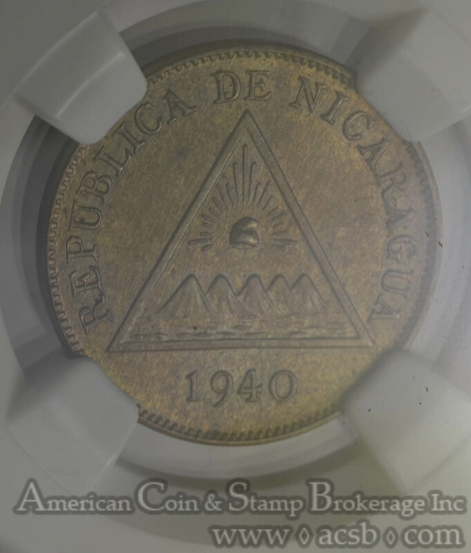 Nicaragua 1 Centavo 1940 MS65 BN NGC bronze KM#11 2nd Finest Pop 4/2 Finer