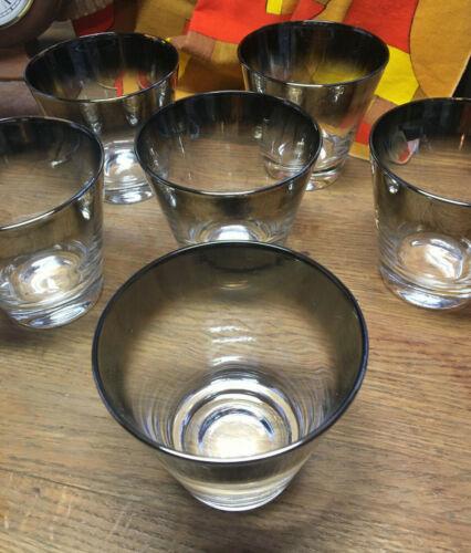Gorgeous Set of 6 Dorothy Thorpe Style Silver Fade Rocks Glasses 10oz Whiskey!