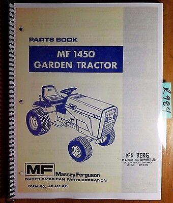 Massey Ferguson Mf 1450 Garden Tractor Parts Book Catalog Manual 651 402 M91 79