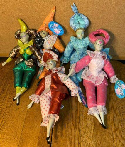 Lot of 5 Vintage Sugar Loaf Mardi Gras Jester Classiques Clown Dolls w/ Tags