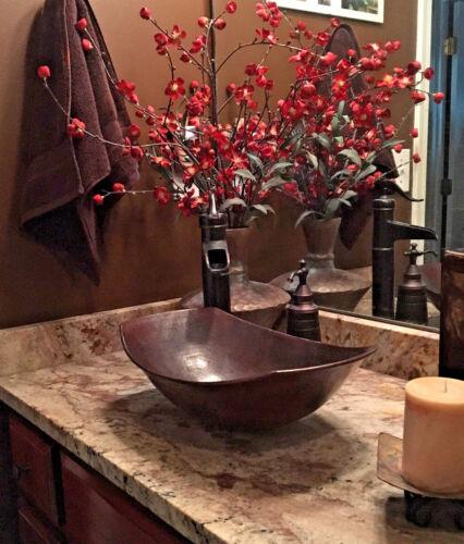 "17"" Oval Copper Vessel Sleigh Countertop Vanity Sink"