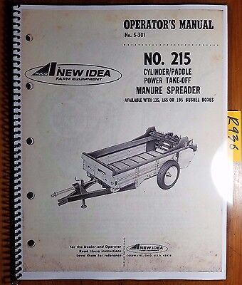 New Idea 215 Cylinderpaddle Pto Manure Spreader Owner Operator Parts Manual