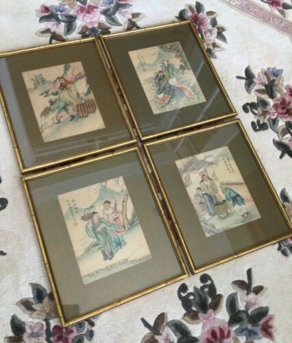 4 Antique Chinese Silk Paintings Artist Signed