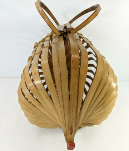 Vintage Japanese Bamboo Slat Bird Cage Basket Folding Collapsible Purse Bag