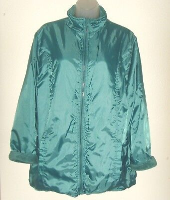 Reversible Chenille Jacket (Women's Large teal reversible jacket (soft chenille) (Totes) )