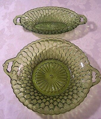 2 INDIANA GLASS GREEN RELISH DISHES OVAL ROUND HANDLES HONEYCOMB PATTERN