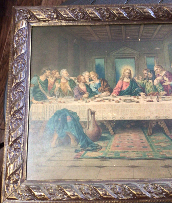 """Vintage Framed Picture Of The Last Supper Beautiful Painting 23"""" By 19"""" Preowned"""
