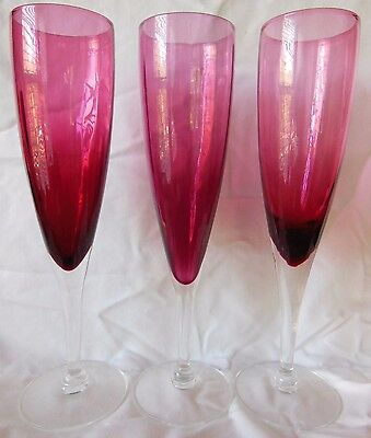 3 Vintage Hard To Find 9 1 8  Pilgrim Glass Cranberry Champagne Flute Glasses
