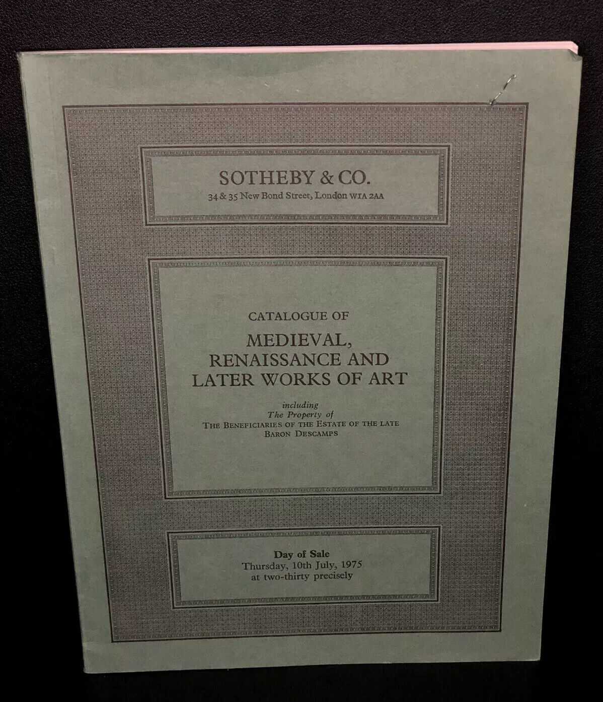 Vintage 1975 Sothebys Auction Catalog Medieval Renaissance and Works of Art