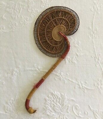 Antique Hand Fan Made of Roots and Wicker w/fabric Covered Wood Handle Vintage