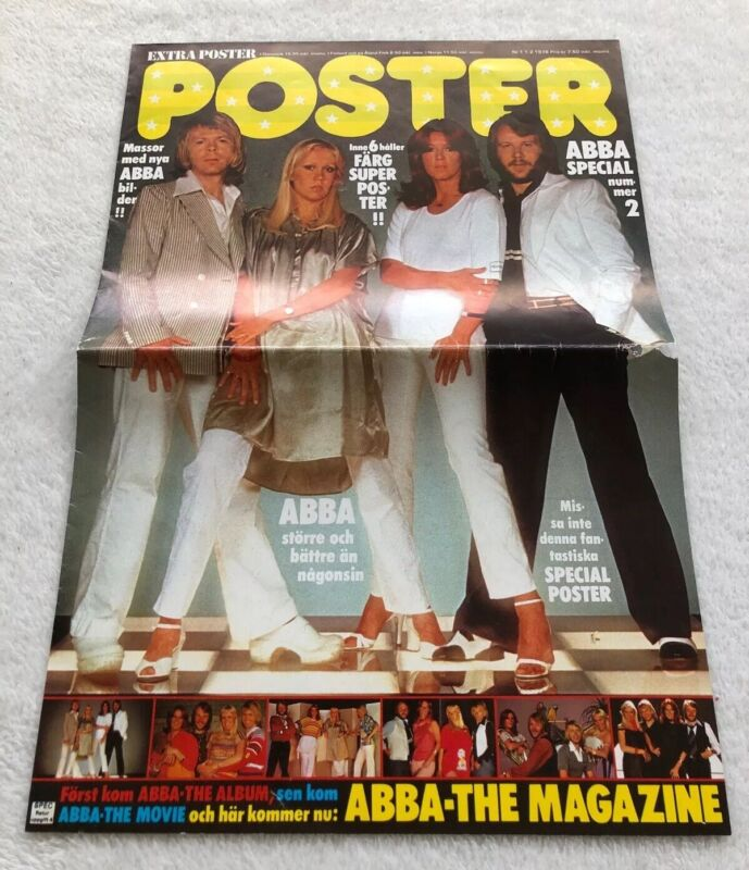 ABBA 1978 Poster Swedish Poster Magazine 1970s Vintage Rare