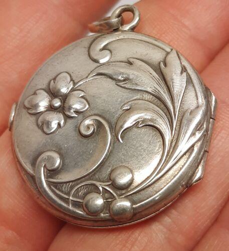 Art Nouveau old round miniature photo locket frame flowers pendant silver 800