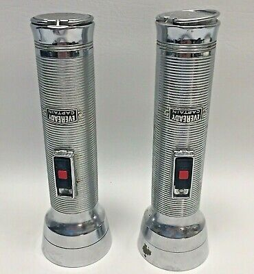 "(2) VINTAGE WORKING EVEREADY CAPTAIN METAL FLASHLIGHT 7-1/2"" TALL: NO BATTERIES"
