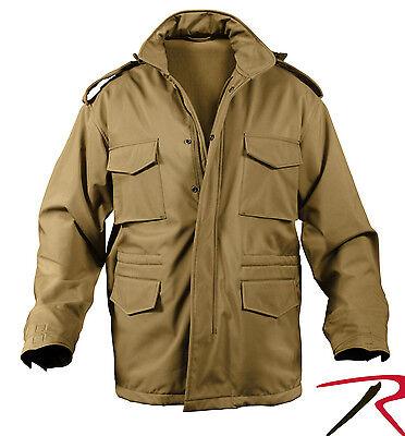 (M65 Field Jacket Coat Soft Shell Tactical M-65 Jacket Fleece Lined w/ Hood 5744)