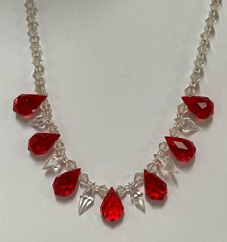 Superb Vintage Clear & Red Glass Necklace Edwardian - Art Deco Costume Jewellery