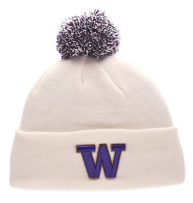 White Washington Hat - WASHINGTON HUSKIES WHITE NCAA  VINTAGE KNIT BEANIE POM Z  SKI CAP HAT NWT!