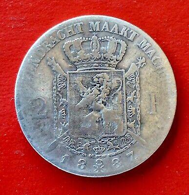 Belgique - Léopold II - Rare  monnaie de 2  Francs 1887 VL