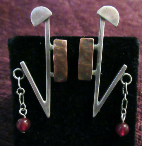 UNIQUE ARTISAN MODERNIST STERLING EARRINGS - 2 INCHES, POST BACK