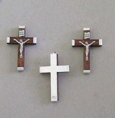 Lot 3 BROWN Wood Rosary Crucifix ITALY Make Rosaries Cross ITALY C118 ~ SMALL](Wood Cross)