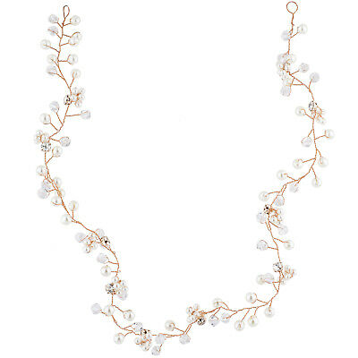 Lux Accessories Rose Gold Tone Faux Pearl Bridal Birds Breath Wire Hair Vine