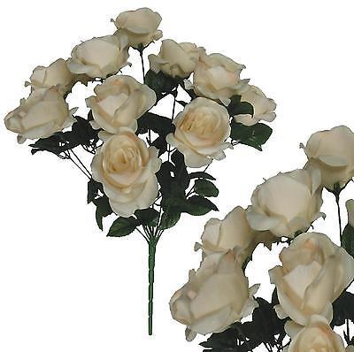 "12 Beige Roses 20""Bouquet Wedding Bridal Party Home Decor Artificial Silk Flower"