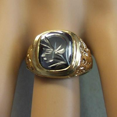 9 ct GOLD Second hand gents hematite ring