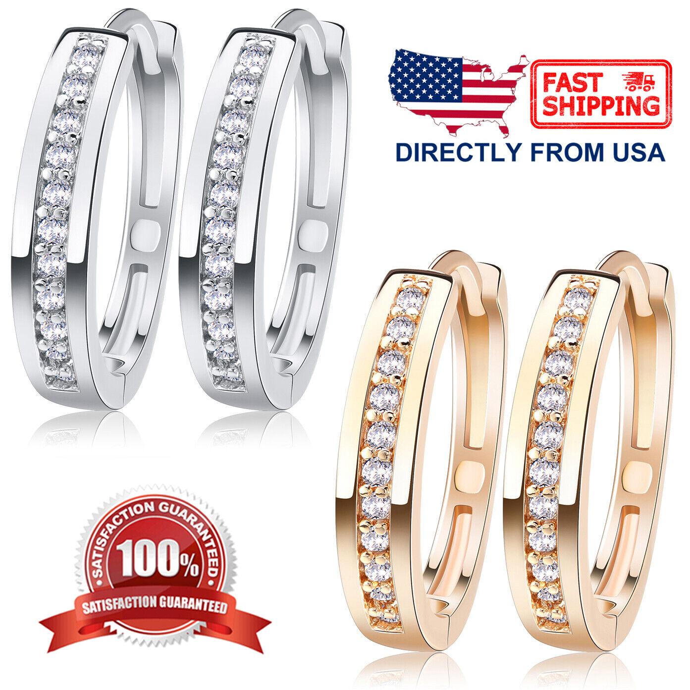 Women's Cubic Zirconia Silver or Rose Gold Color Stainless Steel Huggie Earrings Earrings